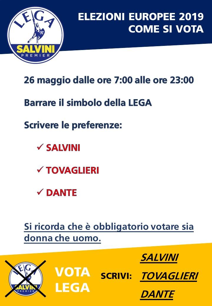 Elezioni Europee 2019 Salvini Tovaglieri Cattaneo